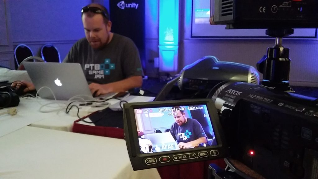 Local game developer and Game Jam organizer Matthew Davey hard at work while ardeeXYZ cameras rolled.